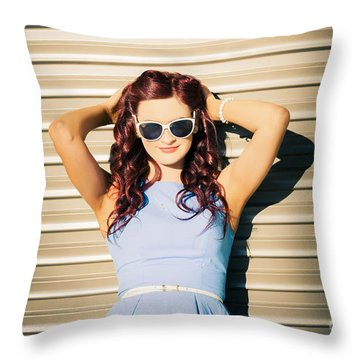 Rockabilly Greaser Pin-up. 50s Drive-in Culture Throw Pillow