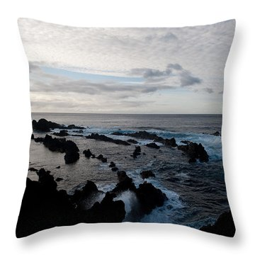 Rocky Beach At Dusk  Throw Pillow