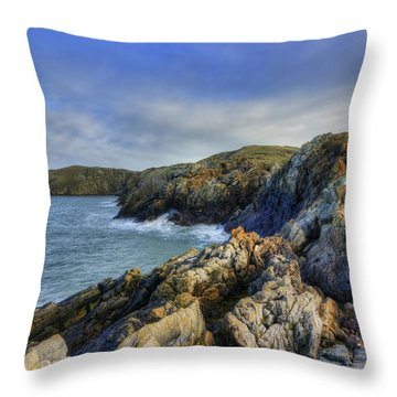 Rocky Ocean Throw Pillow by Ian Mitchell