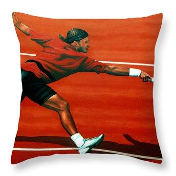 Roger Federer At Roland Garros Throw Pillow