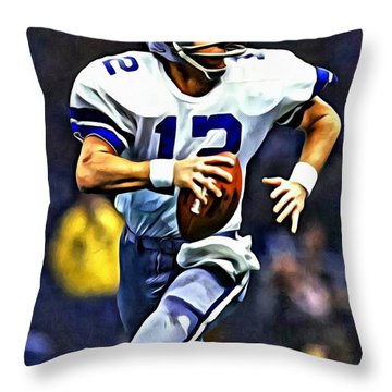 Roger Staubach Throw Pillow