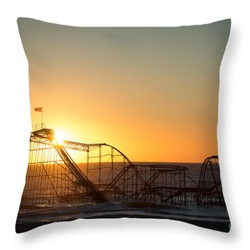 Roller Coaster Sunrise Throw Pillow