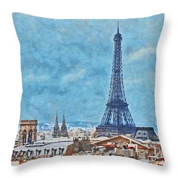 Rooftops In Paris And The Eiffel Tower Throw Pillow