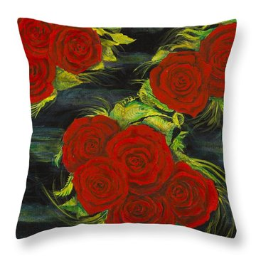Roses Floating Throw Pillow by Cathy Long