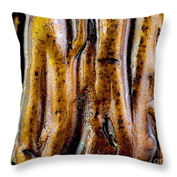 Rough Abstract Ceramic Surface Throw Pillow by Kerstin Ivarsson