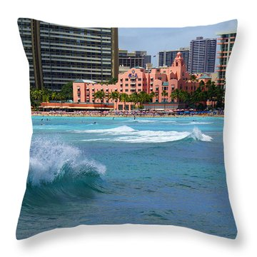 Royal Hawaiian Hotel Throw Pillow by Kevin Smith