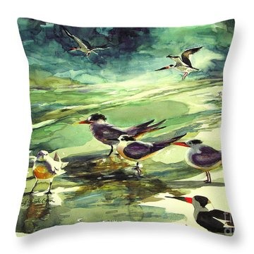 Royal Terns And Black Skimmers Throw Pillow