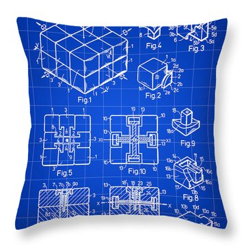 Rubik's Cube Patent 1983 - Blue Throw Pillow by Stephen Younts