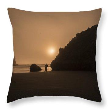 Ruby Beach Sunset Throw Pillow