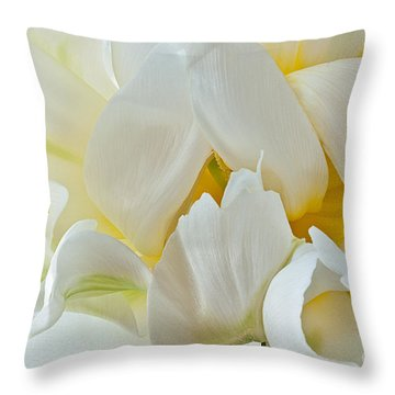 Throw Pillow featuring the photograph Ruffled White Tulip by Art Barker