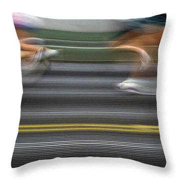Runners Blurred Throw Pillow by Jim Corwin