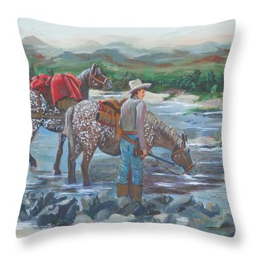 Running Gun Throw Pillow
