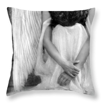 Sad Angel Woman Throw Pillow