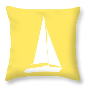 Sailboat In Yellow And White Throw Pillow