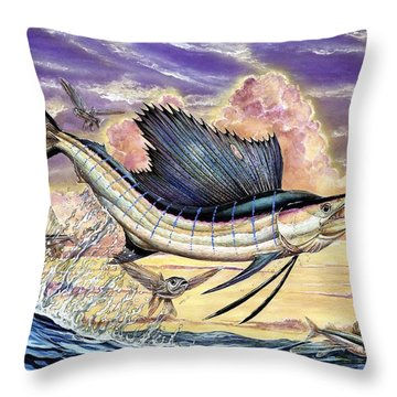 Sailfish And Flying Fish In The Sunset Throw Pillow