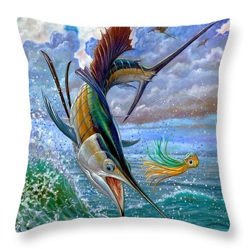 Sailfish And Lure Throw Pillow