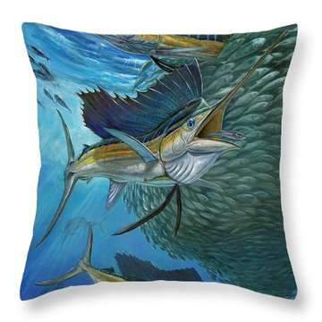 Sailfish With A Ball Of Bait Throw Pillow