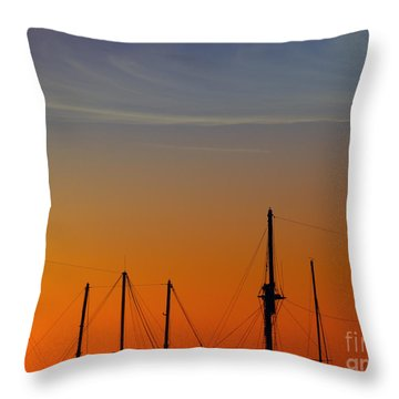 Sailing Boats Throw Pillow by Stelios Kleanthous