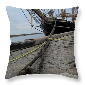 Sailship In Marstal Throw Pillow