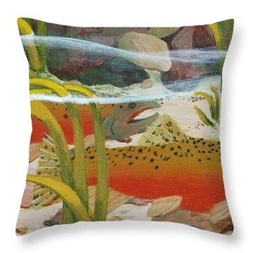 Salmon Throw Pillow by Katherine Young-Beck