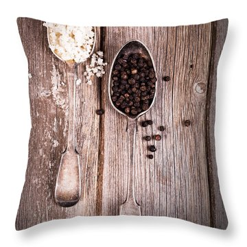 Salt And Pepper Vintage Throw Pillow by Jane Rix
