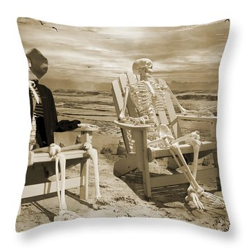 Sam Exchanges Tales With An Old Friend Throw Pillow