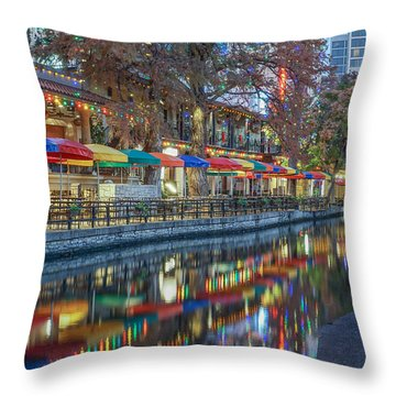 San Antonio Riverwalk Throw Pillow