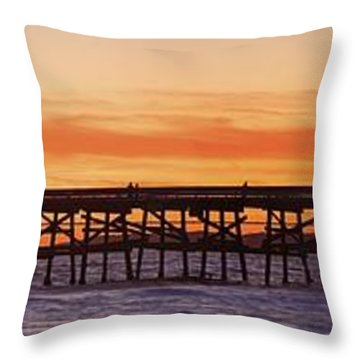 San Clemente Municipal Pier In Sunset Throw Pillow by Richard Cummins