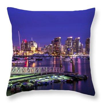San Diego Harbor Throw Pillow by Joseph S Giacalone