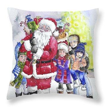 Santa And Children Throw Pillow