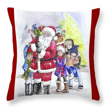 Santa And Children Throw Pillow