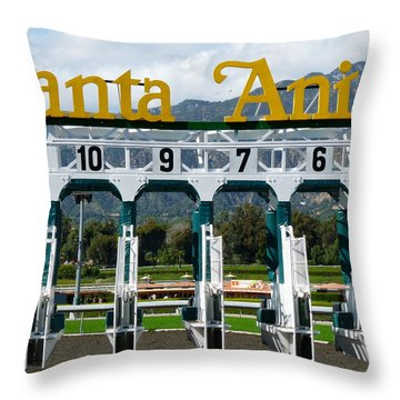 Santa Anita Starting Gate Throw Pillow