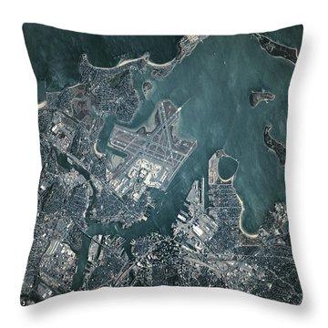 Satellite View Of Boston Throw Pillow