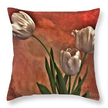 Satin Tulips Throw Pillow by Marsha Heiken