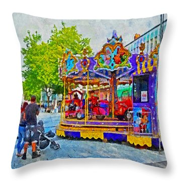 Saturday Fun On Queen Street In Cardiff Wales Throw Pillow