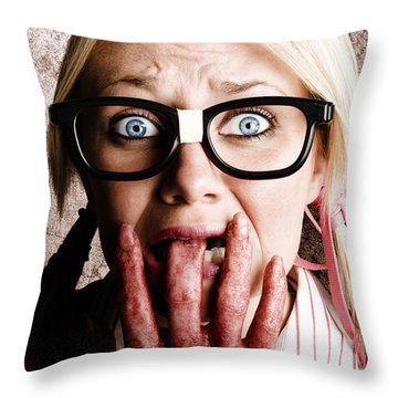 Scared Frightened Business Woman Living In Fear Throw Pillow