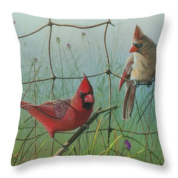 Throw Pillow featuring the painting Scarlet by Mike Brown