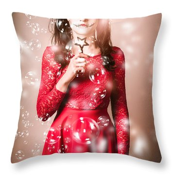 Scary Horror Voodoo Girl With Skeleton Make-up Throw Pillow