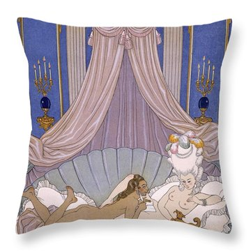 Scene From 'les Liaisons Dangereuses' Throw Pillow by Georges Barbier