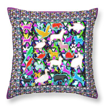 School Kids Animal Birds Fish Deco Navin Joshi Rights Managed Images Graphic Design Is A Strategic A Throw Pillow by Navin Joshi