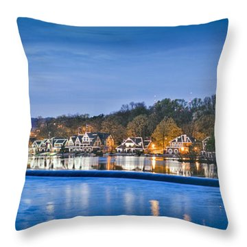 Schuylkill River  Boathouse Row Lit At Night  Throw Pillow by David Zanzinger