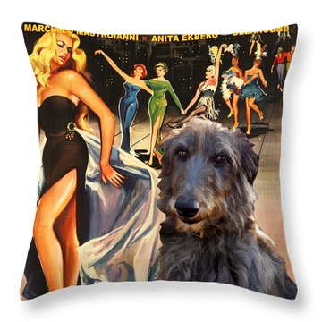 Scottish Deerhound Art - La Dolce Vita Movie Poster Throw Pillow by Sandra Sij