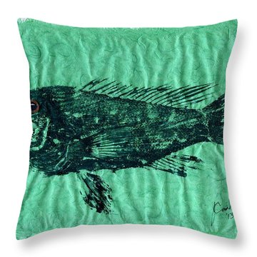 Sea Bass On Aegean Green Thai Unryu Paper Throw Pillow