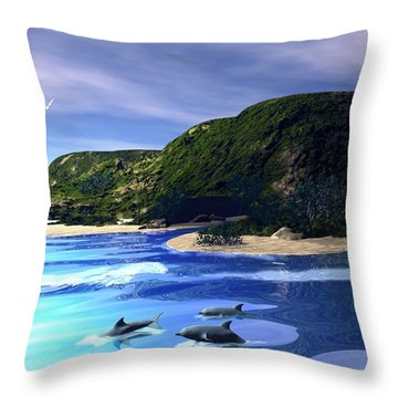 Sea Cave Throw Pillow by John Pangia