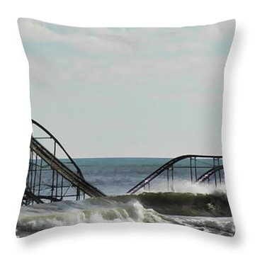 Seaside Heights Roller Coaster  - Paint Throw Pillow