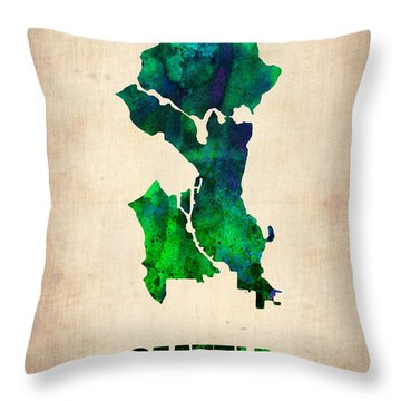 Seattle Watercolor Map Throw Pillow by Naxart Studio