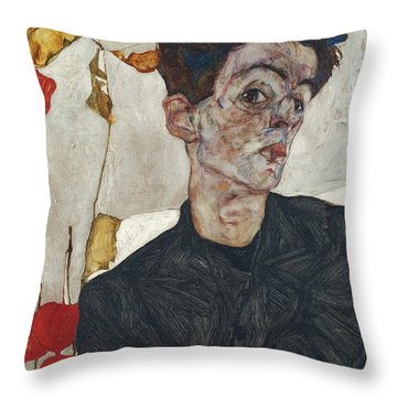 Throw Pillow featuring the painting Self-portrait With Physalis by Celestial Images