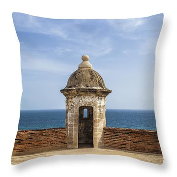 Throw Pillow featuring the photograph Sentry Box In Old San Juan Puerto Rico by Bryan Mullennix