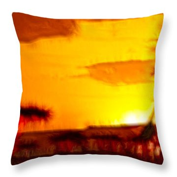 Serengeti Sunset Throw Pillow by Sebastian Musial
