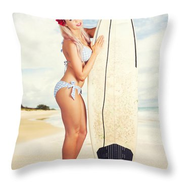 Sexy Sixties Pinup Surfer Girl At Vintage Beach Throw Pillow